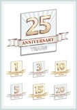 Anniversary card 25 years. Collection of anniversary years against the backdrop of the sun's rays Royalty Free Stock Photos