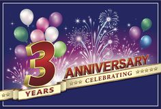Anniversary card 3 years. With fireworks and balloons on a blue background Royalty Free Stock Photography