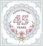 Anniversary card 45 years. In a frame with an ornament and flowers Royalty Free Stock Photos