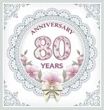 Anniversary card 80 years. In a frame with an ornament and flowers Royalty Free Stock Photography