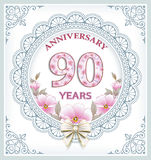 Anniversary card 90 years. Anniversary card with 90 years in a frame with an ornament and flowers Royalty Free Stock Photo