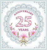 Anniversary card 25 years. Anniversary card with 25 years in a frame with an ornament and flowers Stock Photography