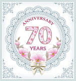 Anniversary card 70 years. Anniversary card with 75 years in a frame with an ornament and flowers royalty free illustration