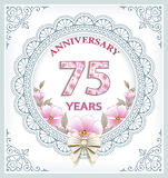 Anniversary card with 75 years Royalty Free Stock Image