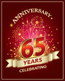 Anniversary card 65 years. Old with fireworks Royalty Free Stock Image