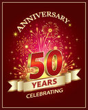 Anniversary card 50 years. Old with fireworks on claret background Royalty Free Stock Photography
