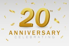 Anniversary celebrating of 20 years. 20th anniversary banner with golden confetti and gold 3d numbers. Festive background for poster, card, invitation. Vector vector illustration