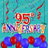 Anniversary celebration background with confetti and balloon. Illustration of Anniversary celebration background with confetti and balloon Royalty Free Stock Images