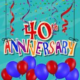 Anniversary celebration background with confetti and balloon. Illustration of Anniversary celebration background with confetti and balloon Stock Images