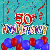 Anniversary celebration background with confetti and balloon. Illustration of Anniversary celebration background with confetti and balloon Royalty Free Stock Photography