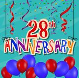 Anniversary celebration background with confetti and balloon. Illustration of Anniversary celebration background with confetti and balloon Royalty Free Stock Photos