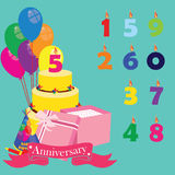 Anniversary celebration. Anniversary background with icons and elements. Birthday cake, candles numbers, balloons, gift box, party hat and noisemaker. Vector Royalty Free Stock Photos