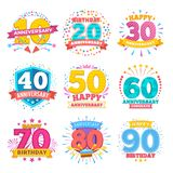 Anniversary celebration banners. Ribbons with numbers vector set royalty free illustration