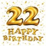 22 Anniversary celebration with Brilliant Gold balloons & colorful alive confetti. 3d Illustration design for your unique annivers. Vector happy birthday 22 vector illustration