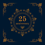 Anniversary celebration card. 25 year anniversary celebration card,  anniversary background. Vector illustration Royalty Free Stock Photos