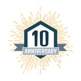 Anniversary 10, celebration ceremony. Vector illustration. Anniversary 10, icon. Vector illustration Stock Photos