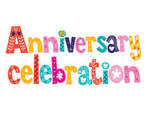 Anniversary celebration decorative lettering text design. Anniversary celebration decorative lettering design Stock Photos