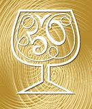 Anniversary celebration on elegant gold textured background.. Monoline drawing on golden background. Stylized number 50 in a wine glass, fiftieth birthday Stock Photography