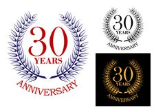 Anniversary celebration emblem with wreath stock illustration