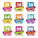 Anniversary celebration emblems in flat style Stock Images