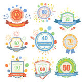 Anniversary celebration emblems set with ribbons isolated  illustration Stock Images