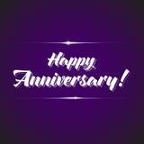 Anniversary celebration logotype. Jubilee calligrafic elements on violet background Royalty Free Stock Photography
