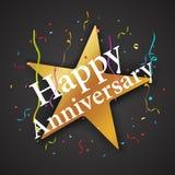 Anniversary celebration with star and confetti Stock Photo