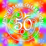Anniversary celebration on vivid rainbow psychedelic background. Monoline drawing on colorful background. Stylized number 50 for f. Iftieth birthday celebration Stock Photos