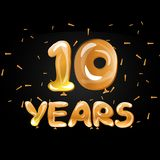 Anniversary celebrations 10 years greeting card. Vector illustration Royalty Free Stock Image