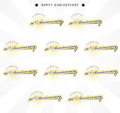 Anniversary collection. Color anniversary sign collection, retro design Stock Photography