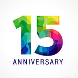 15 anniversary color logo. 15 years old celebrating colored logo. Anniversary numbers 15 th. Fifteen bright facet congrats logotype. Greetings celebrates with Stock Photo