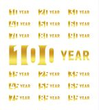 Anniversary of company, gold negative space sign, business birthday, vector logo set, golden numbers, year, num. Celebration card design element, vector stock illustration