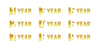 Anniversary of company, gold negative space sign, business birthday, vector logo set, golden numbers, year, num. Celebration card design element, vector Royalty Free Stock Images