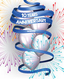 ANNIVERSARY DAY BANNER CARD WITH FIREWORKS LONG BLUE RIBBON AND AIR BALLOONS Stock Photo