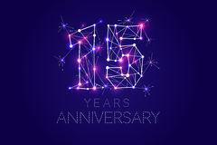 Anniversary design. Abstract form with connected lines and light. 15 year Anniversary design. Abstract form with connected lines and light dots. Vector Stock Images