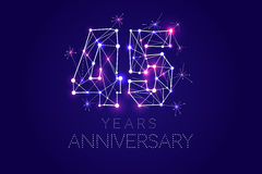 Anniversary design. Abstract form with connected lines and light. 45 years Anniversary design. Abstract form with connected lines and light dots. Vector royalty free illustration