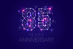 Anniversary design. Abstract form with connected lines and light. 85 years Anniversary design. Abstract form with connected lines and light dots. Vector Stock Photography