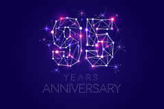 Anniversary design. Abstract form with connected lines and light. 95 years Anniversary design. Abstract form with connected lines and light dots. Vector Royalty Free Stock Images