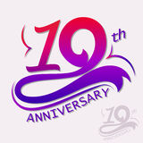 Anniversary Design, Template celebration sign. 10th Years Anniversary Design, Ten Template celebration sign. Vector Royalty Free Stock Photo