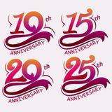 Anniversary Design, Template celebration sign. 10, 15, 20 and 25th Years Anniversary Design, Template celebration sign - Vector Royalty Free Stock Image