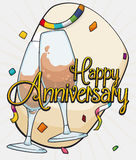 Anniversary Design with Wine Glasses Toasting, Confetti and Streamers, Vector Illustration Royalty Free Stock Photos