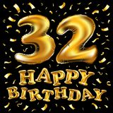 32 anniversary elegance gold logo. linked number with swoosh on black background. Vector happy birthday 32rd celebration gold balloons and golden confetti Royalty Free Stock Images