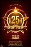 25 Anniversary elegant gold colored logo with shiny star royalty free illustration