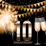 10 Anniversary emblem template design background. Vector Illustration. EPS10 Royalty Free Illustration