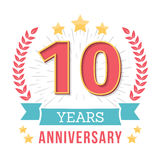Anniversary Emblem. 10 Years anniversary emblem with ribbon, laurel wreath and stars Stock Photo
