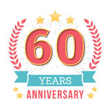 Anniversary Emblem. 60 Years anniversary emblem with ribbon, laurel wreath and stars vector illustration