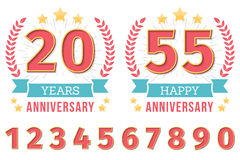 Anniversary Emblems. Anniversary emblem with ribbon, stars and laurel wreath, create your anniversary emblems, set of numbers included Stock Photos