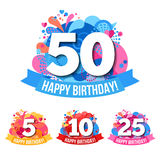 Anniversary Emblems  With Happy Birthday Royalty Free Stock Photography