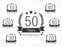 Anniversary Emblems. Set of 7 anniversary emblems Stock Photos