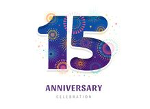 Anniversary fireworks and celebration background, number and firecracker, vector design and illustration royalty free illustration